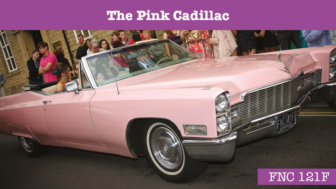 Pink Cadillac Wedding car - wedding cars huddersfield